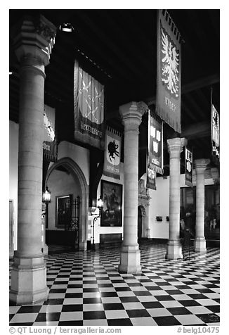 Entrance hall of the Stadhuis. Bruges, Belgium (black and white)