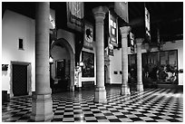 Entrance hall of the town hall. Bruges, Belgium (black and white)