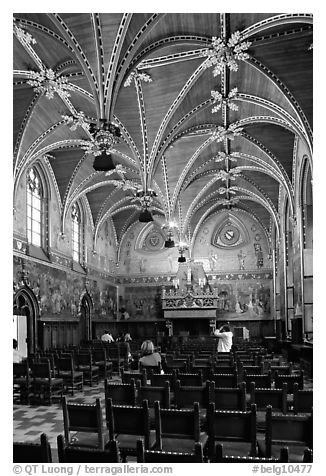 Gotische Zaal of the Stadhuis. Bruges, Belgium (black and white)