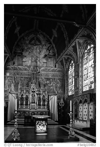 Upper Chapel of the Heilig-Bloedbasiliek (Basilica of Holy Blood). Bruges, Belgium (black and white)