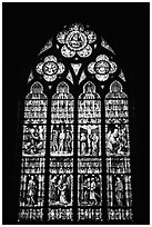 Glass stained window in the Basilica of Holy Blood. Bruges, Belgium (black and white)