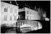Bridge and house at night. Bruges, Belgium (black and white)