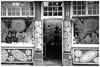 Lace store. Bruges, Belgium (black and white)
