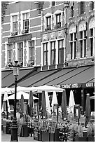 Restaurants and cafes on the Markt. Bruges, Belgium (black and white)