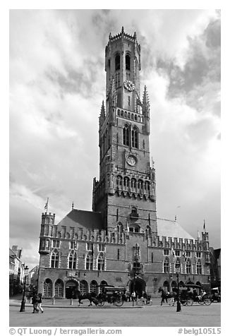 Hallen and Belfort. Bruges, Belgium (black and white)