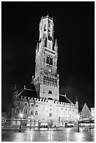 Halletoren belfry at night. Bruges, Belgium (black and white)