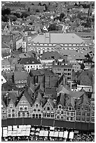 View of the town from tower of the hall. Bruges, Belgium (black and white)