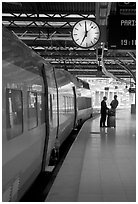 High speed train in the station. Brussels, Belgium (black and white)