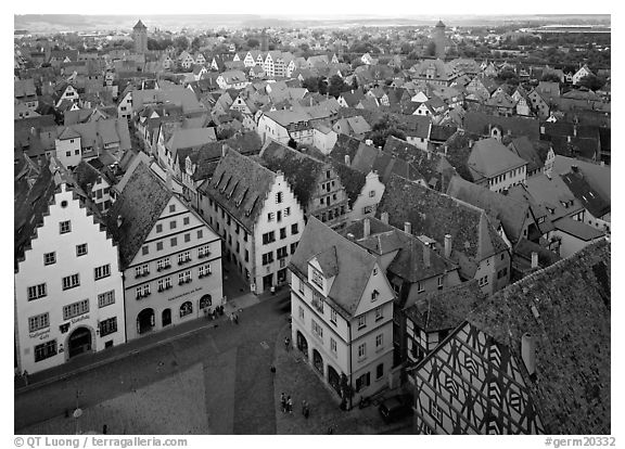 Panoramic view of the city. Rothenburg ob der Tauber, Bavaria, Germany (black and white)
