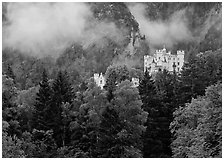 Hohenschwangau castle. Bavaria, Germany (black and white)