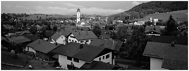 Nesselwang Village. Bavaria, Germany (Panoramic black and white)
