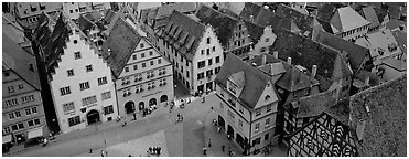 Medieval town of Rothenburg. Rothenburg ob der Tauber, Bavaria, Germany (Panoramic black and white)