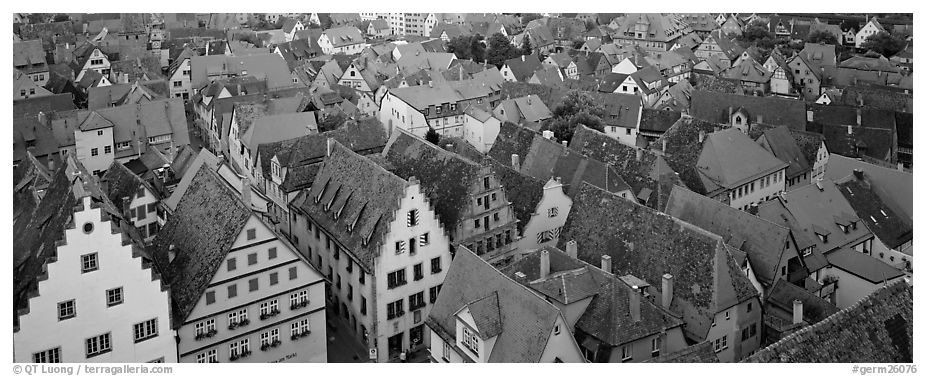 Rooftops of Rothenburg medieval town. Rothenburg ob der Tauber, Bavaria, Germany (black and white)