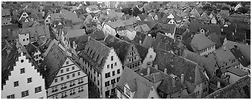 Rooftops of Rothenburg medieval town. Rothenburg ob der Tauber, Bavaria, Germany (Panoramic black and white)