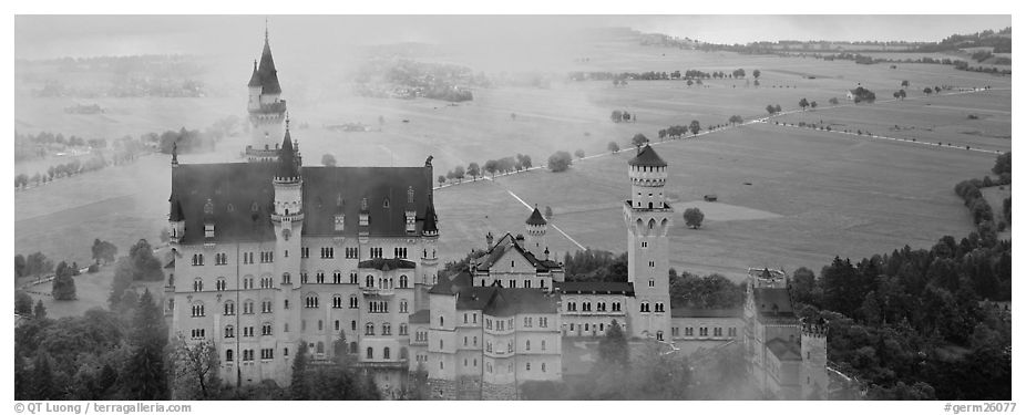 Panoramic black and white picture photo neuschwanstein castle and fog bavaria germany