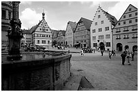 Fountain on Marktplatz. Rothenburg ob der Tauber, Bavaria, Germany (black and white)