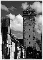 Tower of the rampart walls. Rothenburg ob der Tauber, Bavaria, Germany ( black and white)