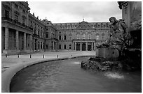 Fountain in front of the Residenz. Wurzburg, Bavaria, Germany (black and white)