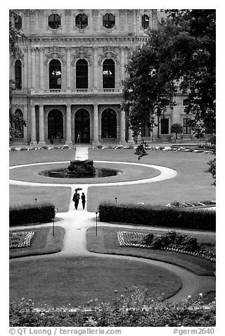 Gardens and Residenz. Wurzburg, Bavaria, Germany (black and white)