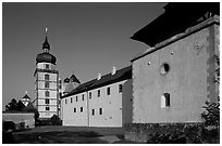 Marienkapelle (Church of Marie) and Festung Marienberg (citadel). Wurzburg, Bavaria, Germany ( black and white)