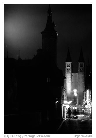Rathaus and Neumunsterkirche seen fron Alte Mainbrucke (bridge) at night. Wurzburg, Bavaria, Germany (black and white)