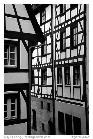 Timbered houses. Nurnberg, Bavaria, Germany (black and white)