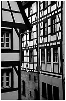 Timbered houses. Nurnberg, Bavaria, Germany ( black and white)