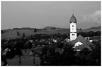 Nesselwang and St Andreas church. Bavaria, Germany ( black and white)