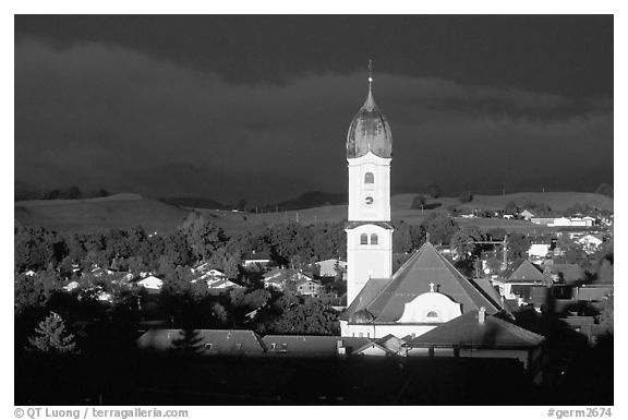 Nesselwang and St Andreas church, storm light. Bavaria, Germany (black and white)