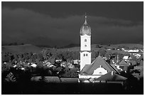 Nesselwang and St Andreas church, storm light. Bavaria, Germany ( black and white)