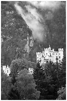 Hohenschwangau, built in 1832 for Maximillien II, King Ludwig's father. Bavaria, Germany ( black and white)