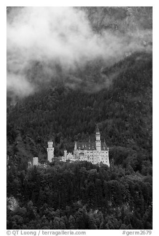 Neuschwanstein, one of the castles built for King Ludwig. Bavaria, Germany (black and white)