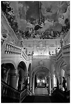 Main staircase and fresco painted by Tiepolo. Wurzburg, Bavaria, Germany (black and white)