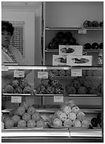 Schneeballen, a local specialty. Rothenburg ob der Tauber, Bavaria, Germany (black and white)