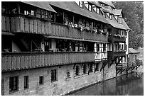 Timbered houses on the canal. Nurnberg, Bavaria, Germany (black and white)