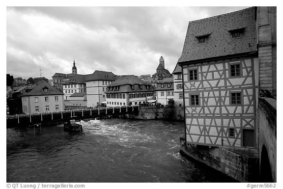 Black And White Picture/Photo: Houses And Canal, Bamberg