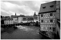 Houses and canal, Bamberg. Bavaria, Germany ( black and white)