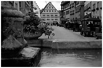 Fountain and street. Rothenburg ob der Tauber, Bavaria, Germany ( black and white)
