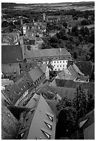 Rooftops seen from the Rathaus tower. Rothenburg ob der Tauber, Bavaria, Germany (black and white)