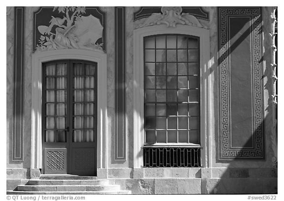 Gate and window, royal residence of Drottningholm. Sweden (black and white)