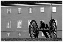 Cannon in front of Uppsala castle. Uppland, Sweden (black and white)