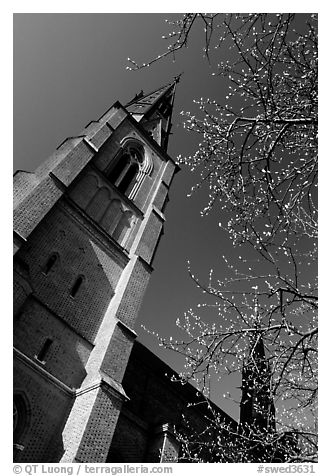 Cathedral in French gothic style, Uppsala. Uppland, Sweden (black and white)