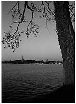 Vattern Lake and Vadstena. Gotaland, Sweden ( black and white)