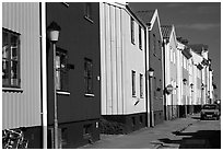 Row of colorful houses. Gotaland, Sweden (black and white)