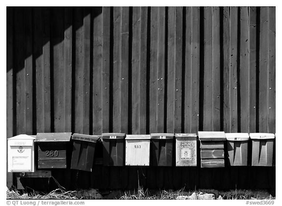 Row of mailboxes. Gotaland, Sweden (black and white)