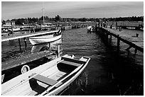 Boats and pier. Gotaland, Sweden ( black and white)