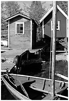 Boat and cabins. Gotaland, Sweden (black and white)