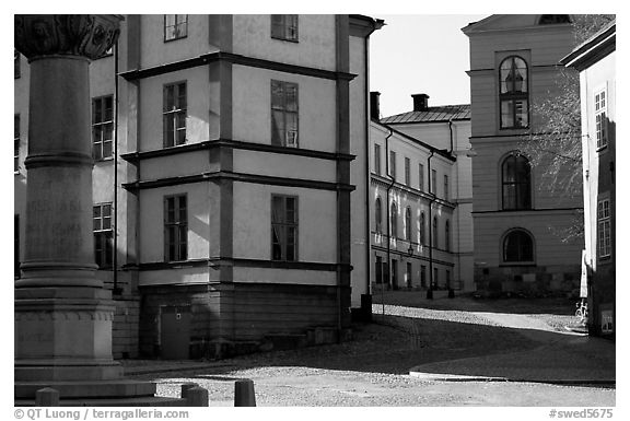 Streets of Gamla Stan, the island where the city began. Stockholm, Sweden (black and white)