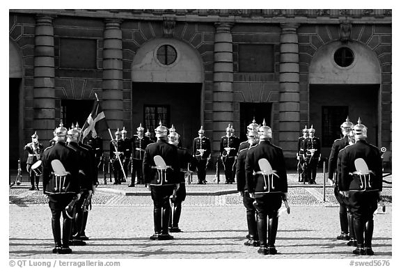 Royal Guard in front of the Royal Palace. Stockholm, Sweden (black and white)