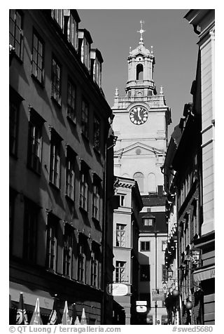 Street and church in Gamla Stan. Stockholm, Sweden (black and white)